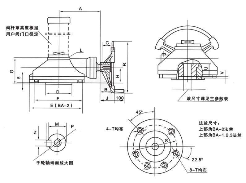 BA series bevel Gear Actuators